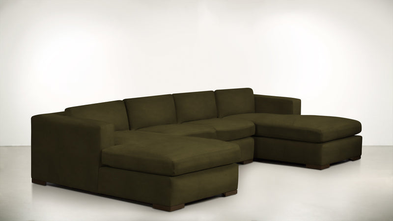 The Stylist Modular Sectional 3-Piece Set Structured Velvet Malachite / Chocolate Whom. Home