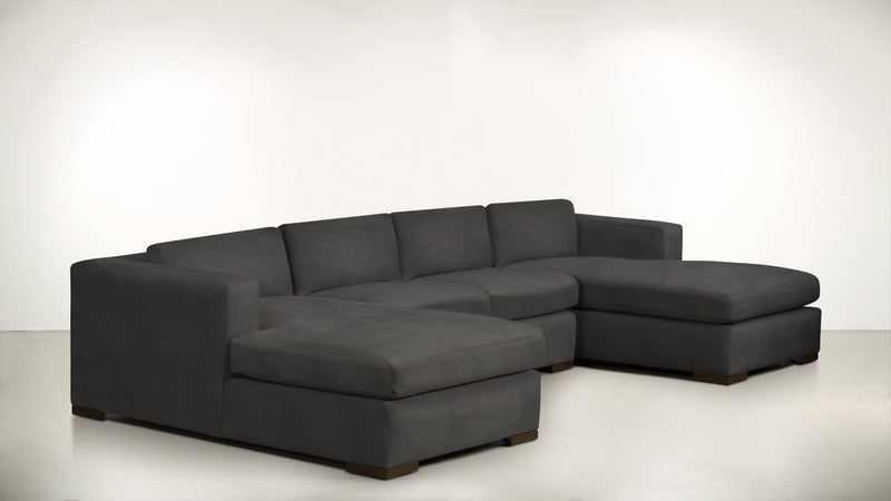 The Stylist Modular Sectional 3-Piece Set Structured Velvet Sterling / Chocolate Whom. Home