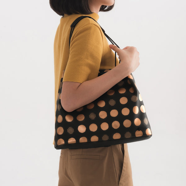 Leather Gyoza Small Dumpling Bag (Dot Pattern)