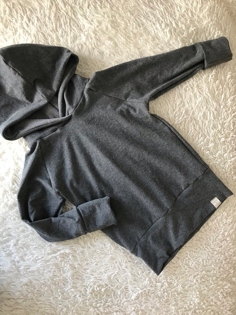 Grey Grow With Me Hoodie (School Age Size)