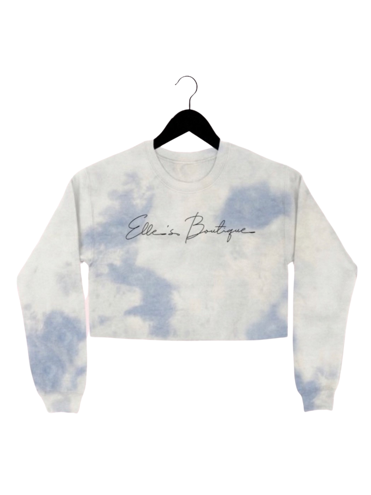 EB TIE DYE CROP SWEATSHIRT - CLOUD