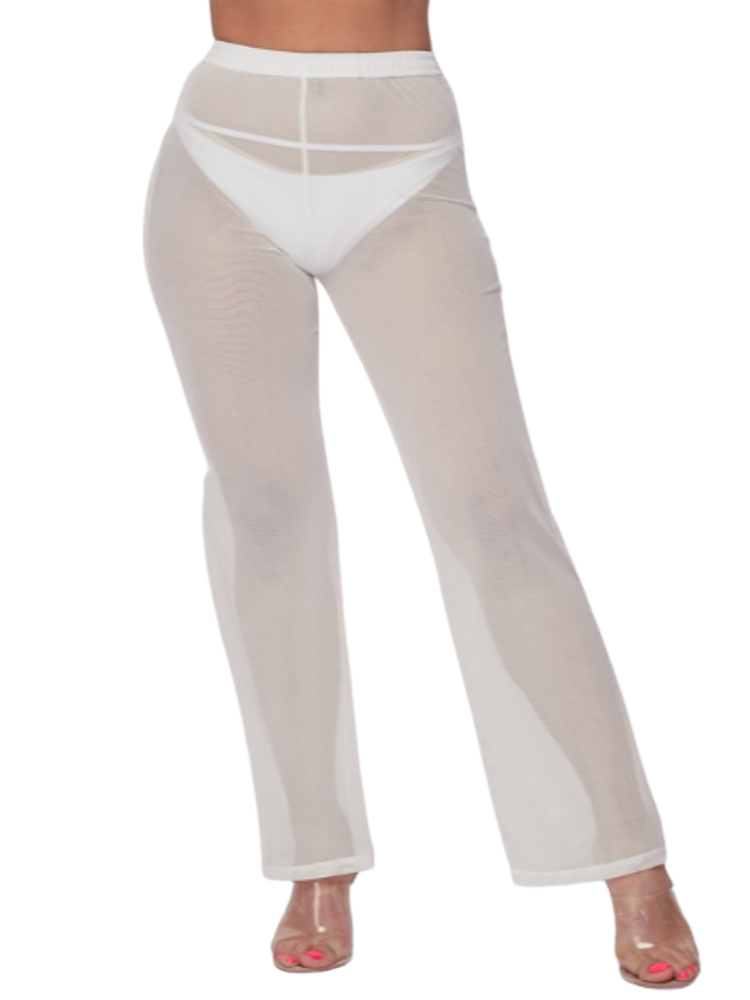 Hazel Cover Up Pants - White