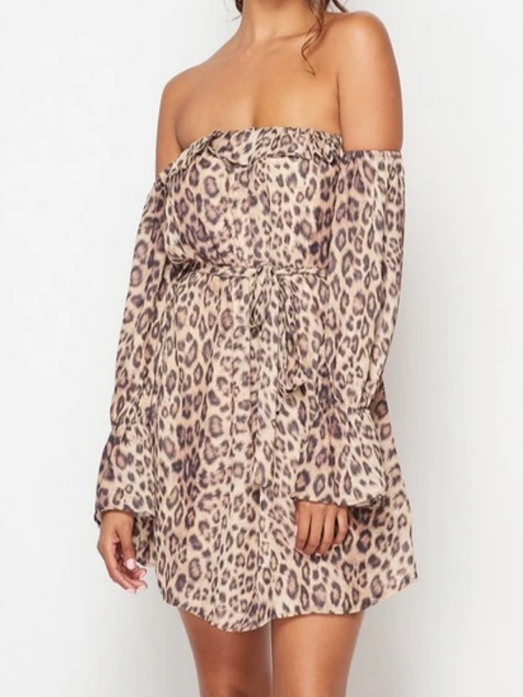 Alexa Leopard Off Shoulder Dress
