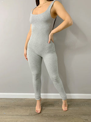 EB Scoop Neck Jumpsuit - Heather Grey