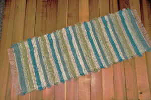 "Kitchen or Hallway Runner Rug - 24"" x 64"" Aqua, Celery & Ivory"
