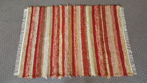 "5' x 6' 9"" Red, Gold & Honey U. S. HAND WOVEN Large Area Textured Rag Rug"