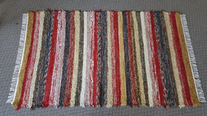 5' x 9' Red, Gold, Navy &  Honey U. S. HAND WOVEN Large Area Textured Rag Rug