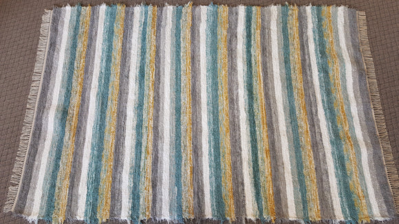 Living Room, Dining Room or Family Room Rug - 6' x 9' Gray, Yellow Gold, Aqua & White
