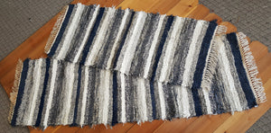 "24"" x 55"" & 24"" x 6'4"" Navy, Gray & White - Set of 2 - U. S. HAND WOVEN Small Area and Runner Rag Rugs"