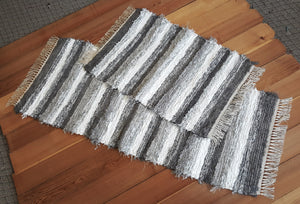 "Kitchen Runner & Medium Rug - 24"" x 61"" & 24"" x 36"" Gray & White - Set of 2"