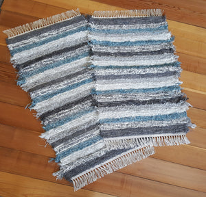 "Kitchen, Bedroom or Door Entry Rug Set - 24"" x 37"" & 24"" x 42"" Teal & Gray"