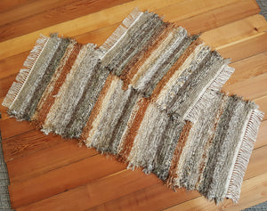 "24"" x 43"" & 24"" x 6' 3"" Olive & Taupe - Set of 2 - U. S. HAND WOVEN Small Area and Runner Rag Rugs"