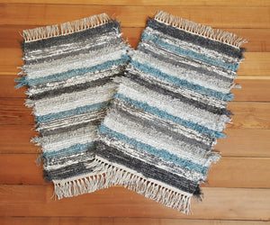 "Kitchen, Bathroom or Door Entry Rug Set - 20"" x 29"" & 20 x 31"" Teal & Gray"