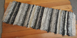"Kitchen or Hallway Runner Rug - 24"" x 66"" Black, Tan, Oatmeal, Gray & Brown"