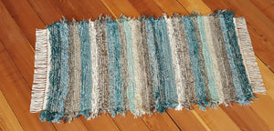 "Kitchen, Bathroom, Bedroom or Door Entry Rug - 24"" x 49"" Teal, Chocolate & Tan"