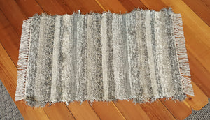 "28"" x 43"" Gray, Tan & Oatmeal U.S. HAND WOVEN Textured Medium Area Rag Rug"
