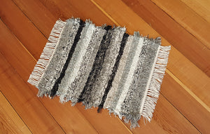 "Bathroom or Kitchen Rug - 20"" x 24"" Black, Gray, Oatmeal, Tan & Brown"