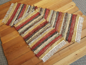 "24"" x 36"" & 24"" x 60"" Deep Red - Set of 2 - U. S. HAND WOVEN  Area and Runner Rag Rugs"