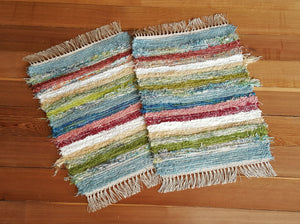 "20"" x 25"" & 20"" X 25"" Confetti - Set of 2 - U. S. HAND WOVEN Small Area Rag Rugs"