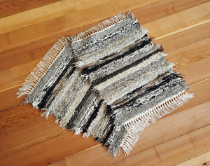 "20"" x 25"" & 20"" x 25"" - Black, Gray & Tan - Set of 2 - U. S. HAND WOVEN Small Area Rag Rugs"