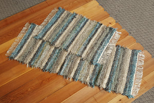 "Kitchen Runner & Medium Rug - 24"" x 60"" & 24"" x 35""-  Teal & Chocolate- Set of 2"
