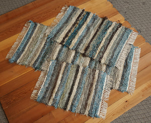 "24"" x 54"" & 24"" x 35"" & 20"" x 26""-  Teal & Chocolate- Set of 3 - U. S. HAND WOVEN  Area Rag Rugs"