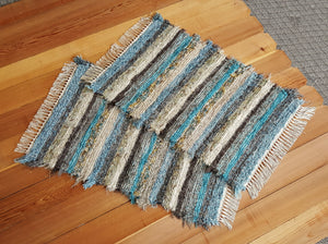 "Kitchen or Bedroom Rug Set - 24"" x 36"" & 24"" x 36""- Teal & Chocolate"