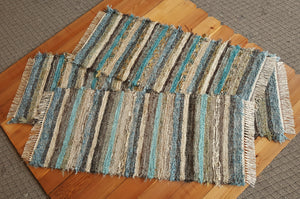 "Kitchen Runner & 2 Medium Rugs Set - 24"" x 6'2"" & 24"" x 55"" & 24"" x 54""-  Teal & Chocolate"