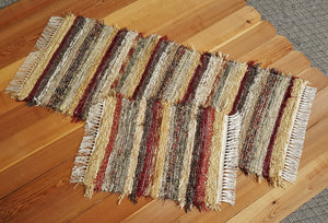 "24"" x 55"" & 20"" x 25"" Deep Red - Set of 2 - U. S. HAND WOVEN  Area and Runner Rag Rugs"