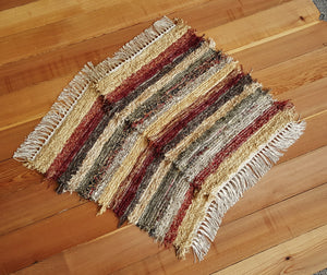 "20"" x 25"" & 20"" x 25""- Deep Red- Set of 2- U.S. HAND WOVEN Small Area Rag Rugs"