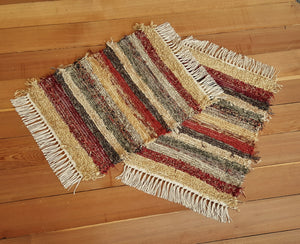 "Bathroom or Kitchen Rug Set - 20"" x 25"" & 20"" x 25""- Deep Red"