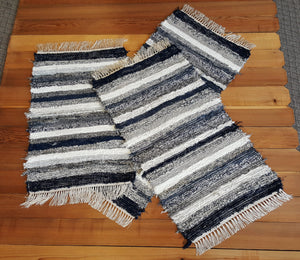 "Kitchen or Bedroom Rug Set - 24"" x 51 & 24"" x 43"" & 24"" x 36""- Navy, Gray & White"