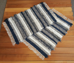 "Kitchen or Bedroom Rug Set - 28"" x 40"" & 28"" x 42"" Navy, Gray & White"