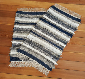 "Kitchen, Bedroom or Door Entry Rug Set - 24"" x 41"" & 24"" x 37"" Navy, Gray & White"