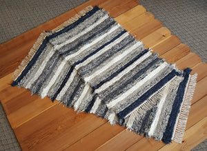 "Kitchen or Bedroom Runner & Medium Rug Set - 28"" x 60"" & 28"" x 48"" Navy, Gray & White"