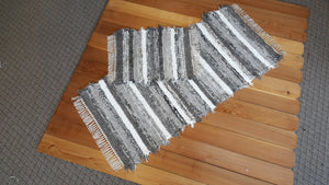 "Kitchen or Bedroom Runner & Small Rug Set - 28"" x 62"" & 20"" x 25"" Gray & White"