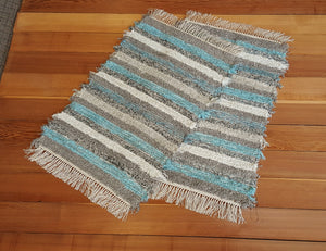 "24"" x 37"" & 24"" x 36"" Aqua, Gray & Oatmeal - Set of 2 - U. S. HAND WOVEN Small Area and Runner Rag Rugs"