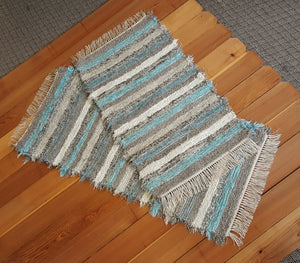 "24"" x 53"" & 24"" x 42"" Aqua, Gray & Oatmeal - Set of 2 - U. S. HAND WOVEN Small Area and Runner Rag Rugs"
