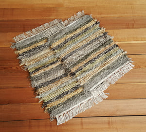 "20"" x 24"" & 20"" x 24""- Olive & Taupe - Set of 2 - U. S. HAND WOVEN Small Area Rag Rugs"