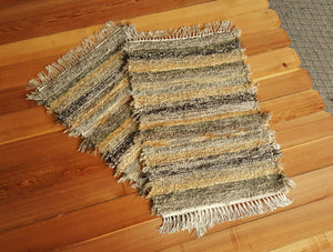 "Kitchen or Bedroom Rugs Set- 24"" x 36"" & 24"" x 37""- Olive & Taupe"