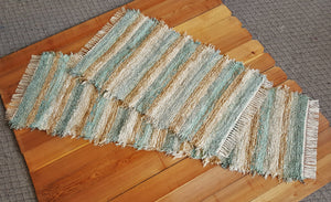 "Kitchen Runner & Medium Rug Set - 24"" x 6'3"" "" & 28"" x 47"" -Set of 2- Aqua & Honey"