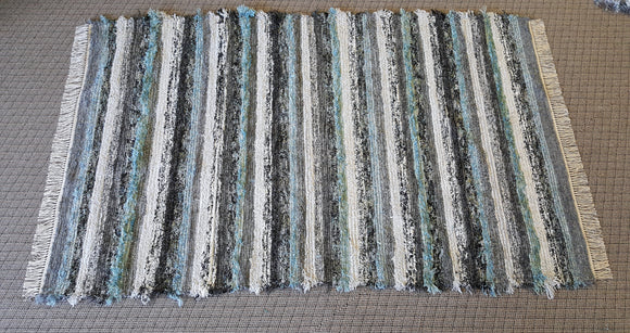 Living Room, Sunroom, Nursery or Family Room Rug -5' x 8'  Teal, Aqua & Gray