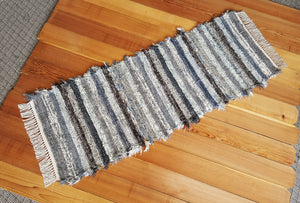"Kitchen or Hallway Runner Rug - 24"" x 62"" Dusty Blue & Gray"