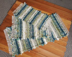 "Kitchen or Bedroom Runner, Medium & Small Rug Set - 28"" x 61"" & 28"" x 36"" & 20"" x 36""-Teal, Gray & & Celery"