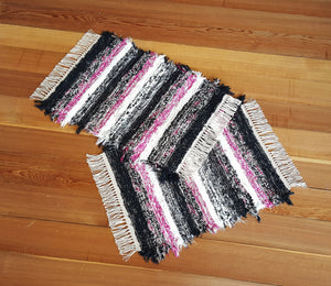 "20"" x 25"" & 20"" x 27""- Hot Pink, Black & White - Set of 2 - U. S. HAND WOVEN Small Area Rag Rugs"