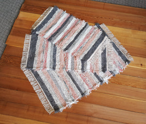 "28"" x 43"" & 20 x 39"" & 20"" x 33""-Dusty Pink & Gray - Set of 3 - U. S. HAND WOVEN  Medium & Small Area Rag Rugs"