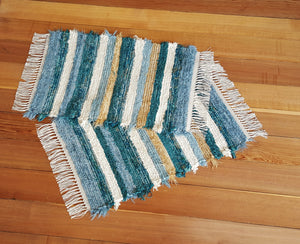 "Kitchen, Bathroom or Door Entry Rug Set - 20"" x 31"" & 20"" x 30""- Teal & Country Blue"