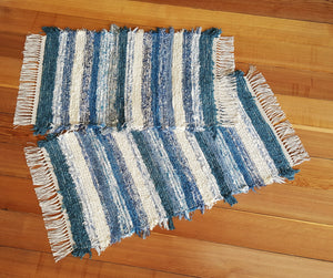 "20"" x 37"" & 20"" x 31""- Navy Blue & Creme - Set of 2 - U. S. HAND WOVEN Small Area Rag Rugs"