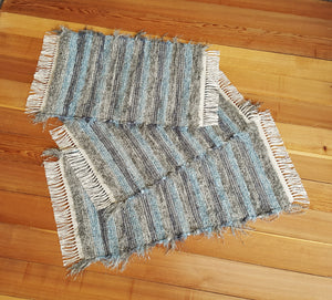 "Kitchen, Bathroom or Door Entry Rug Set - 20"" x 36"" & 20"" x 29"" & 20"" x 29"" - Blue & Gray"