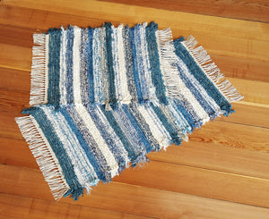 "Kitchen, Bathroom or Door Entry Rug Set - 20"" x 36"" & 20"" x 25""- Country Blue & Creme"